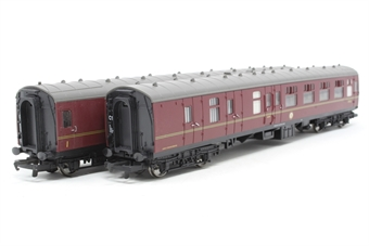 R1053Coaches-PO01 Pack of two coaches in  Hogwarts Railways maroon - split from Harry Potter train set - Pre-owned - replacement box