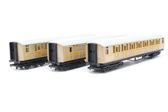 R1183coaches-PO01 2 x LNER Composite coaches and 1 x LNER Brake coach - Teak (Unboxed) Split from Master of the Glens trainset - Pre-owned - replacement box