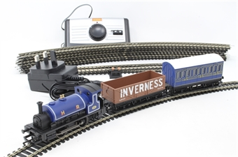 R1220 Highland Rambler train set with Class 0F 'Pug' 0-4-0ST in HR blue with 4-wheel coach and open wagon