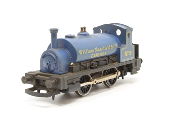 R161A-PO Class 0F Pug 0-4-0T No.3 'William Mansfield & Co' inBlue - Pre-owned - Poor runner - broken cab roof - missing coupling hooks - replacement box