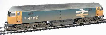 R2254 Class 47 47120 in BR blue with large logo (weathered)
