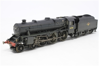 """R2258-PO11 Class 5MT """"Black 5"""" 4-6-0 44781 in BR black with late crest - weathered - Pre-owned -detailed with real coal  and crew- cab hatch glued in place -  damage to valve gear, poor runner, imperfect box"""