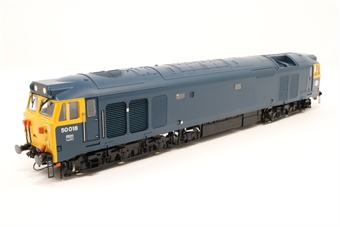 """R2348-PO02 Class 50 50018 'Resolution' in BR blue - Pre-owned - detailed, Converted to P4 Wheel set, Nameplate removed from one side, lights flicker, body loose from chassis, Nameplates for """"Hercules"""" included, NEM Sockets and couplings removed, imperfect box"""