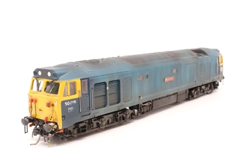 R2348-PO07 Class 50 50018 'Resolution' in BR blue - Pre-owned - DCC sound fitted- Weathered - body loose from chassis- lights only working in one direction- detached step- loose glazing- worn nameplate- imperfect box