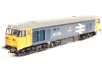 R2349-PO04 Class 50 50035 'Ark Royal' in BR blue with large logo & number - Pre-owned - chassis detailing detached, with glue stains where they should be - roof detailing loose - DCC fitted, decoder unresponsive