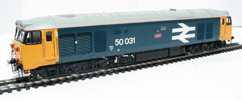 R2374 Class 50 50031 'Hood' in BR blue with large logo & number