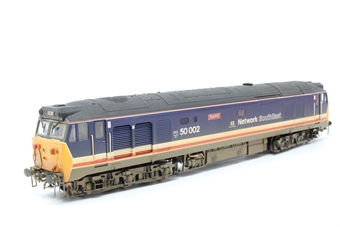 R2429-PO09 Class 50 50002 'Superb' in Revised Network South East Livery (weathered) - Pre-owned - noisy runner- damaged coupling- imperfect box