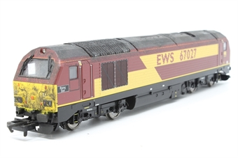 """R2522-PO03 Class 67 67027 """"Rising Star"""" in EWS maroon - Pre-owned - weathered - missing buffer - imperfect box"""
