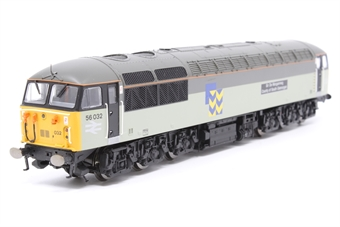 """R2752-PO03 Class 56 56032 """"Sir De Morgannwg County of South Glamorgan"""" in Railfreight Metals with Toton decal (DCC Ready) - Pre-owned - Damaged and loose NEM Sockets ans couplings, some details loose from chassis"""