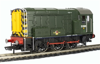 R2933 Class 08 Shunter D3509 in BR early green with wasp stripes