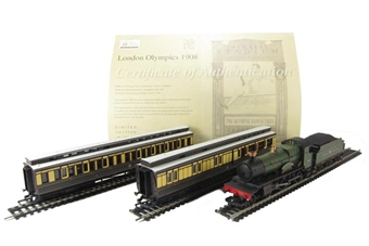 "R2980 London 1908 train pack with GWR 4-4-0 County Class ""County of Radnor"" and 2 GWR Clerestory Coaches. Olympics Limited edition"