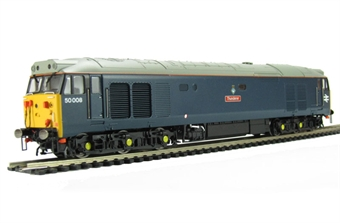 """R3054 Class 50 50008 """"Thunderer"""" in Laira Blue livery."""