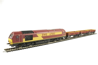 R3399 EWS freight train pack with Class 67 in EWS livery and three MHA open wagons