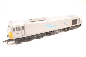R3479-PO04 Class 60 60066 in DB Schenker/Drax Powering Tomorow silver - Pre-owned - DCC fitted, missing one buffer