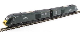 """R3685 Pair of Class 43 HST Power Cars 43041 """"Meningitis Trust Support for Life"""" and 43005 in GWR green livery"""