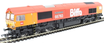 """R3779 Class 66/7 66783 """"The Flying Dustman"""" in Biffa red with GBRf branding"""