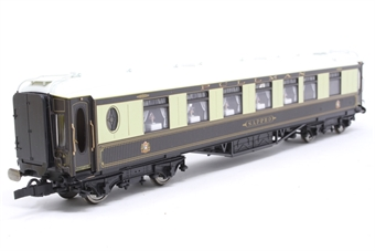 """R4145A-PO15 Wood sided Pullman 1st class kitchen car """"Sappho"""" with working table lamps - Pre-owned - missing glazing, body slightly loose, orginal coupling replaced by close coupling on one end,  replacement box"""