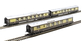 R4871 Pack of three centre coaches for 5-BEL Brighton Belle in Pullman umber and cream