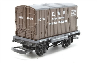 R6014-PO05 G.W.R Container And Conflat Wagon 39326 - Pre-owned - missing buffers- missing coupling hooks- imperfect box