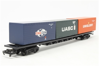 "R6172-PO01 Bogie container wagon with 3 20ft containers ""CMACGM, Uniglory & UASC"" - Pre-owned - Like new £18"