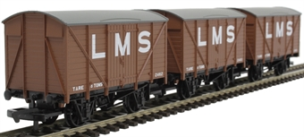 R6836 8 ton box vans in LMS bauxite - pack of three - railroad range