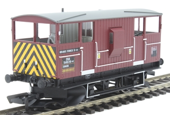 R6851 ZUA 'Shark' ballast brake van D993902 in EWS maroon