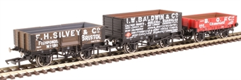 "R6882 Pack of three Private Owner open wagons - ""B.Q.C."" ""I.W.Baldwin"" and ""F.H.Silvey"""