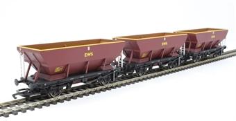 R6885 Pack of three HEA coal hopper wagons in EWS maroon