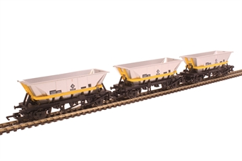 "R6890 Pack of three HFA coal hopper wagons in BR railfreight livery with yellow cradle and ""Barry Depot"" branding - Railroad Range £21"
