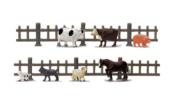 R7120 Farm animals and wooden fencing